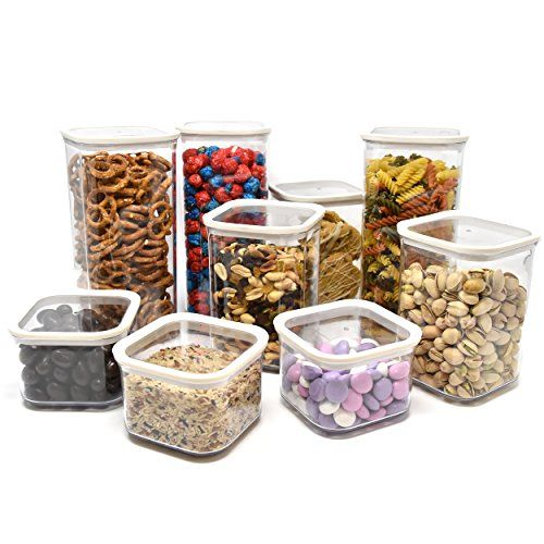 Airtight Dry Food Storage Container Set Food Saver Clear Plastic