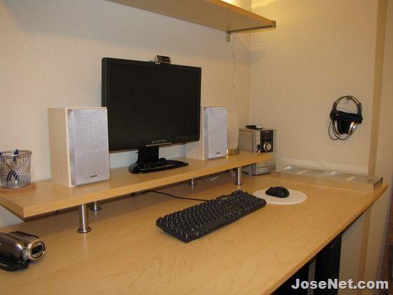 Ikea Galant Computer Desk With Monitor Riser In 2020 Computer Desk Computer Desk Organization Computer Desk Setup