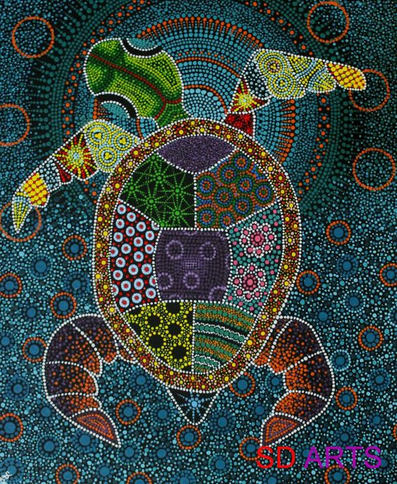Turtles aboriginal art and mosaics on pinterest for Mosaic painting meaning