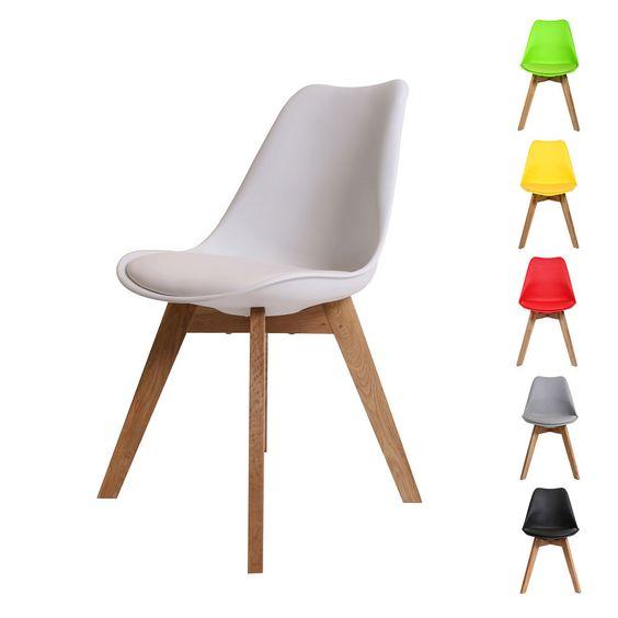 designer esszimmerstuhl mit ledersitz / eichenholz küchenstuhl
