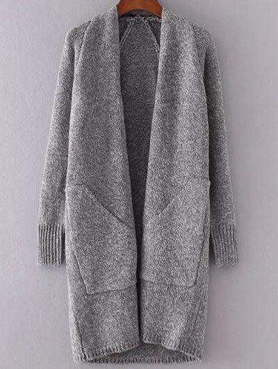 Collarless Long Sleeve Trapezoid Pocket Loose Cardigan