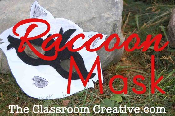 Free template for a raccoon mask. Perfect craft to accompany a nocturnal creatures lesson! Great for a Kissing Hand book activity too
