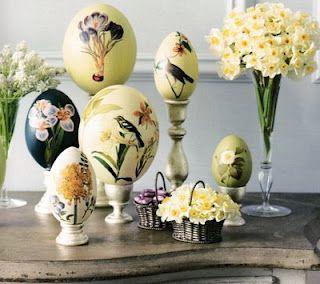 Decoupage eggs: