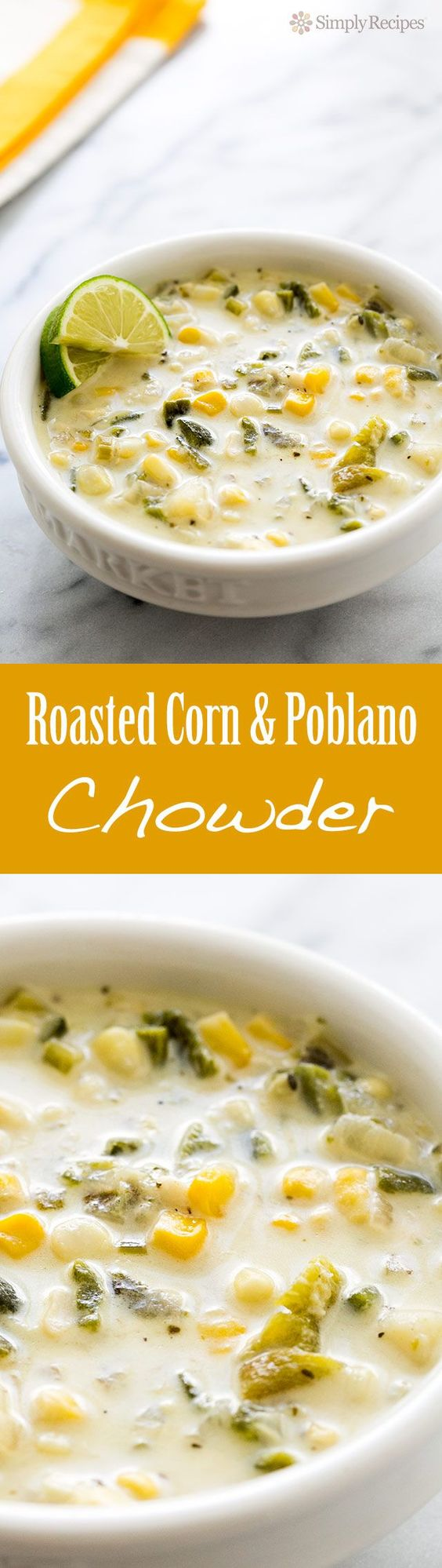 Roasted Poblano Corn Chowder ~ Rich corn chowder with roasted poblanos, fresh corn, potatoes, onions, stock, and cream. ~ SimplyRecipes.com