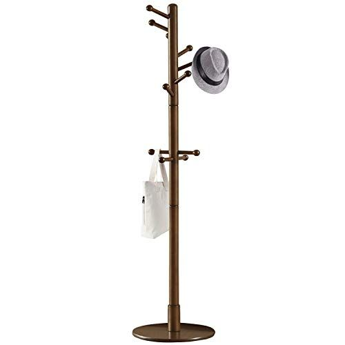 Vlush Sturdy Wooden Coat Rack Stand Entryway Hall Tree Coat Tree With Solid Round Base For Hat Clothes Purse Scarves Handbags Umbrella Dark Brown 11 Hooks