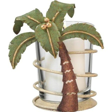 Amazon.com: Votive Tealight Candle Holder Coastal Tropical Palm Tree - Regal Art #05272: Home & Kitchen