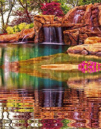 paisaje agua catarata gif