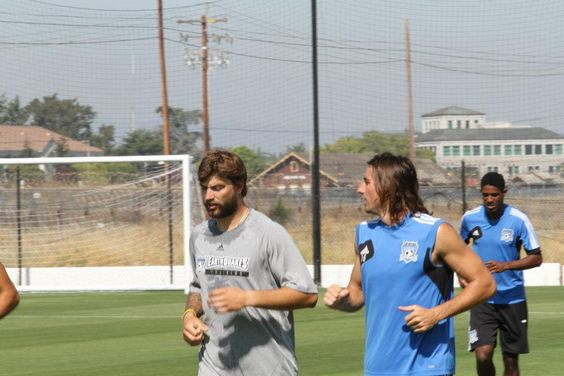Brent Burns trains with sj earthquakes. Pretty cool. Hockey players often use soccer to improve feet skill with the puck