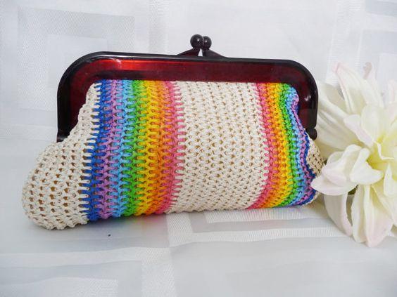 Vintage 60s Rainbow Clutch Purse Woven Bag by VintiqueVixen, $34.00