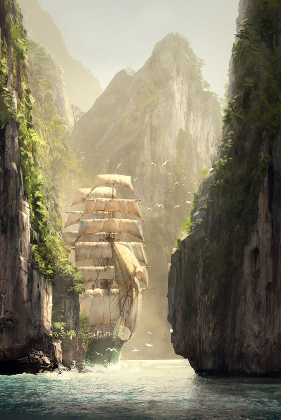 Along the Strait of Ara Lulia (Assassin's Creed concept by R. Lacoste):