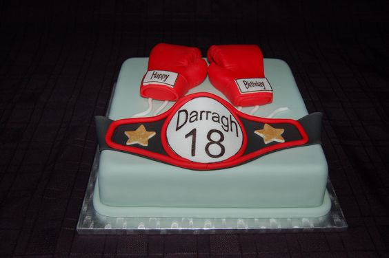 Boxing Glove and Belt Birthday Cake