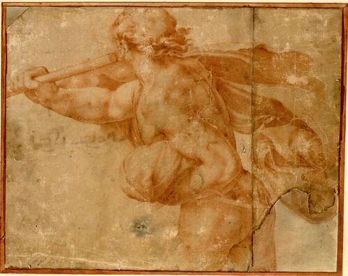 Anonym nach Michelangelo, Rückenakt des mit Mantel und Stab nach links Wegschreitenden auf Michelangelos Karton der 'Schlacht von Cascina' © Albertina, Wien #Michelangelo #Renaissance #Drawing #GraphicArt #GraphicCollection #Masterpiece