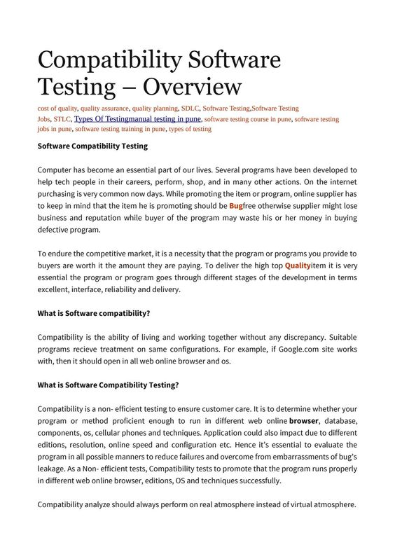 Compatibility Software Testing  Overview  Software Testing And