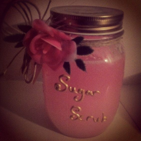 Sugar hand scrub Just put sugar in a jar and put handsoap on top. Stir and you have a great sugar hand scrub!