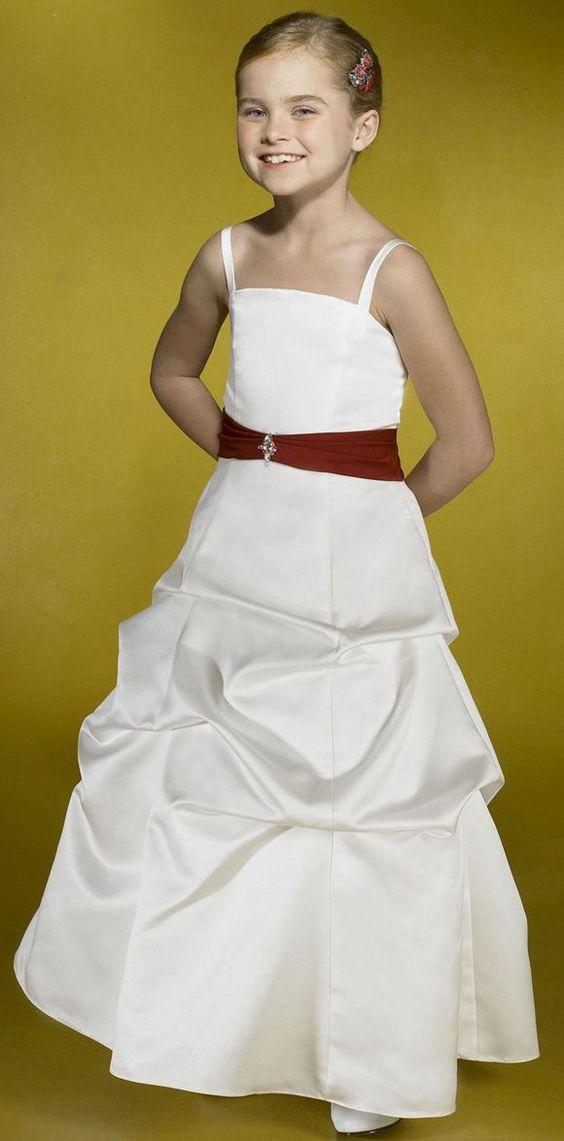 Nectarean Ball Gown Spaghetti Straps Beading Floor-length Taffeta Flower Girl Dresses