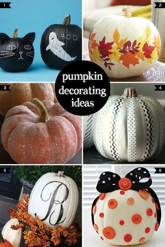 Pumpkin decorating pumpkins and decorating ideas on pinterest for Fall pumpkin decorating ideas