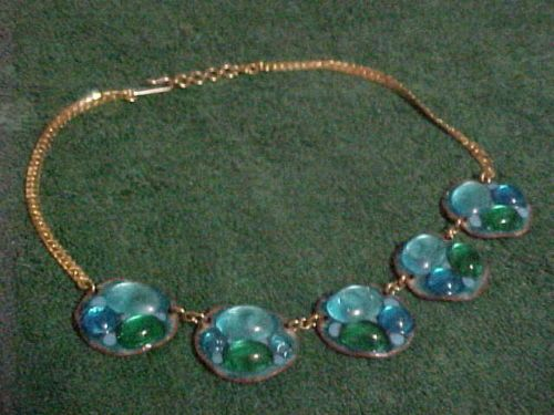 Signed Ruth Buol Mid century Modern Enamel Copper Art Necklace Modernist Jewelry