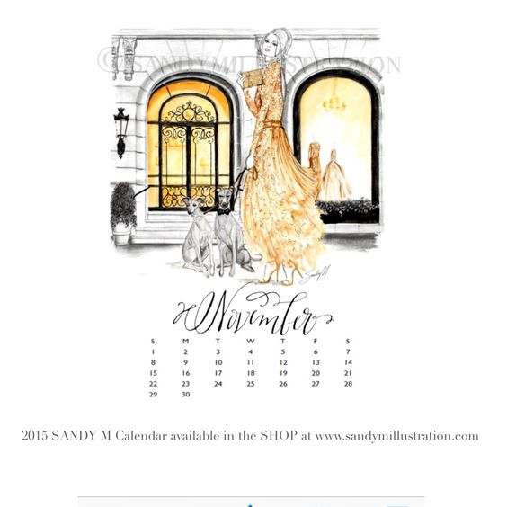 Calendar Illustrations : The first sandy m fashion illustration calendar is