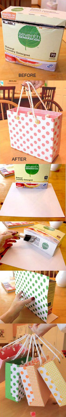 Make your own gift bags. You can use Mod Podge to apply papers and