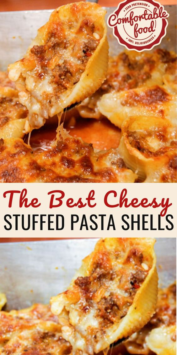 Cheesy, Beefy Stuffed Pasta Shells