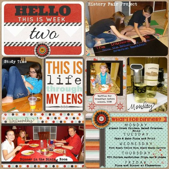Project Life Pages | [ One Velvet Morning ] - what's for dinner card