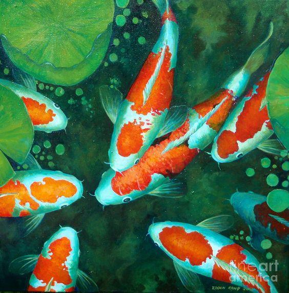 Auspicious koi pond 9 painting auspicious koi pond 9 for Koi pond art