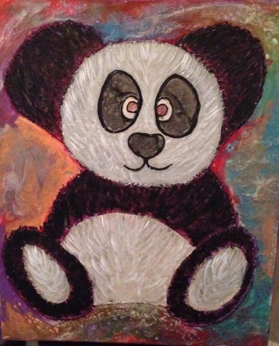 Crazy Panda mixed Media