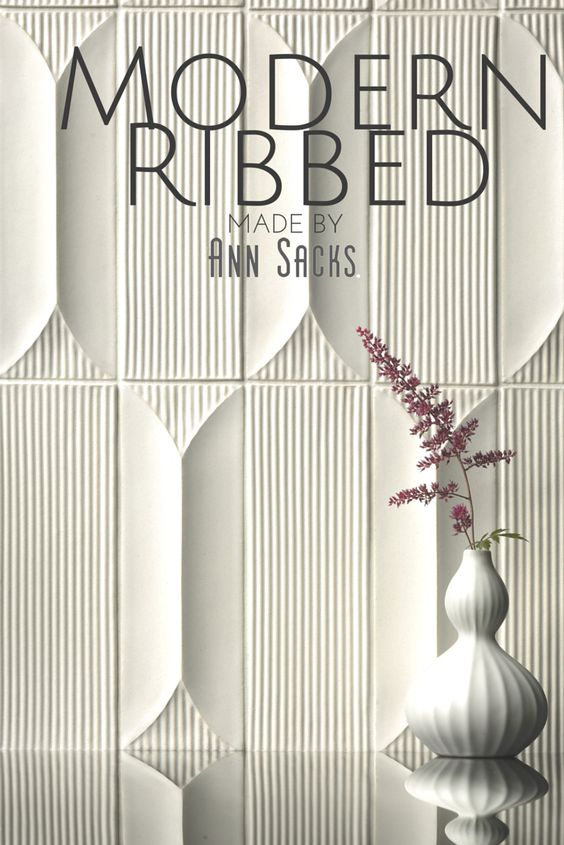 Modern Ribbed A 3 Dimensional Ceramic Tile Collection Is