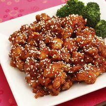Sesame chicken - A spicy Chinese dish made with chili paste and topped with toasted sesame seeds