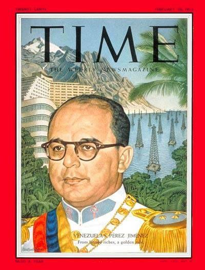 "Portada de la revista ""Time"" con el entonces dictador venezolano Marcos Pérez Jimenez en la misma. Febrero de 1955. / Cover of ""Time"" with the former Venezuelan dictator Marcos Perez Jimenez in it. February 1955.:"