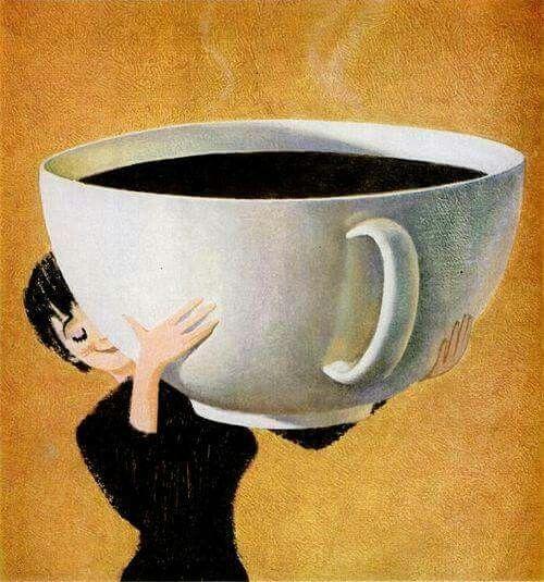 Una pequeña taza de café