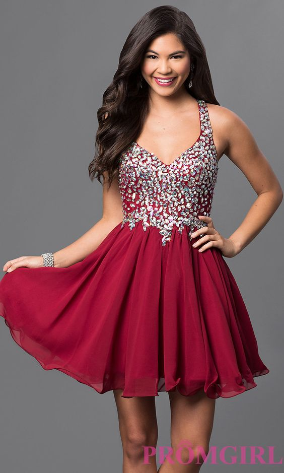 Short A-Line Beaded Bodice Prom Dress DQ-8997 - Red-y for Prom ...