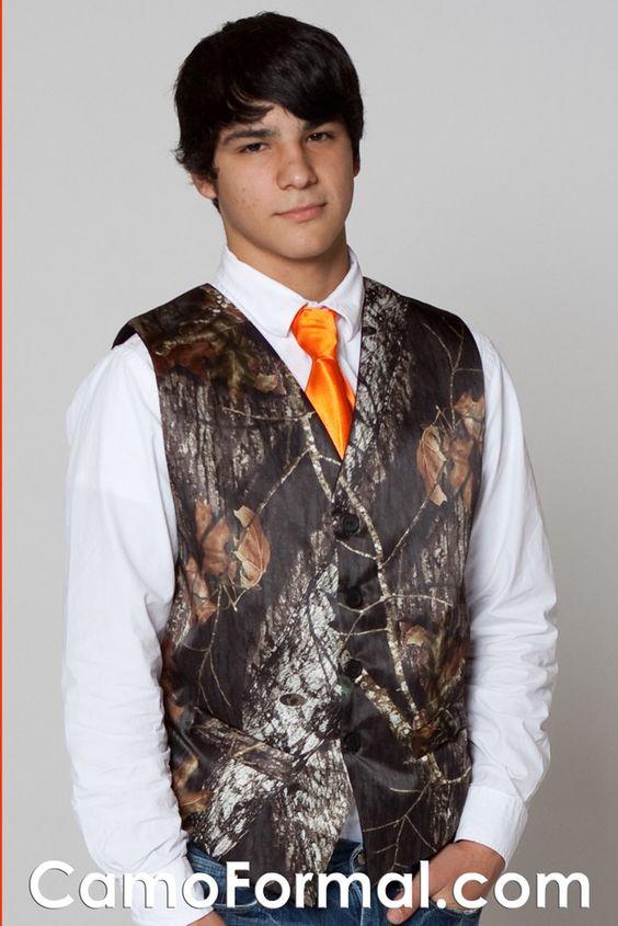 camo wedding vest with blaze orange tie | ... 6370 Welcome to Camo Formal - Camouflage Wedding and Camo Prom Formals