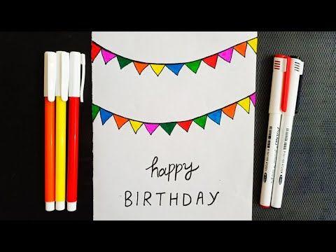 Very Easy Birthday Banner Greetings Card Happy Birthday Drawing Card Diy Simple Creative P Simple Birthday Cards Happy Birthday Drawings Paper Greeting Cards