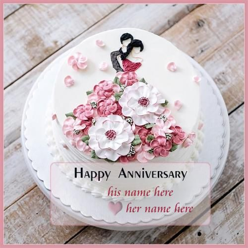 Wedding Anniversary Wishes Cake Images With Name Happy