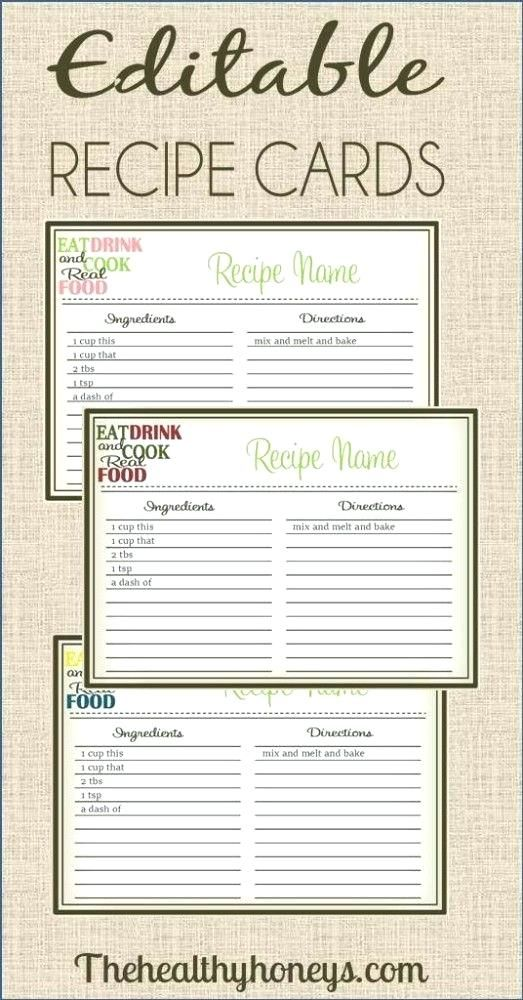 Real Food Recipe Cards Editable Free 4x6 Card Template Ms