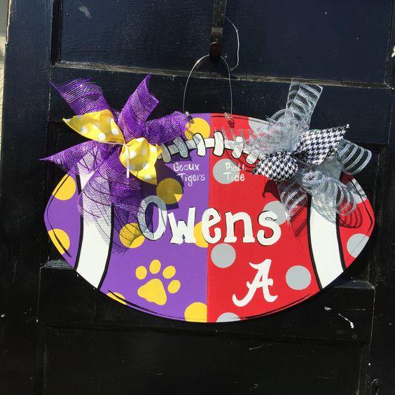 House Divided Football, LSU Alabama football, Wooden door hanger ,personalized door hanger,sports door hanger by Furnitureflipalabama on Etsy