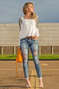 look do dia, marina casemiro, blog de moda ribeirão preto, zaus boutique, caos moda, jeans skinny, destryed, blusa correntes bordada, powerhelicopteros, coach orange  ( (3)