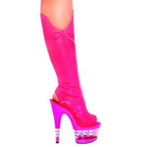 Pink Stripper Shoes | Hot Pink Leathet La Platform Stripper Boots ...