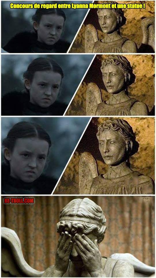 Concours de regard entre Lyanna Mormont et une statue ! - Be-troll - vidéos humour, actualité insolite