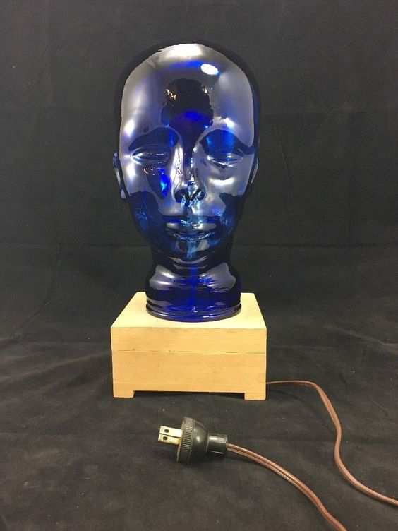 Retro Modern Vintage Blue Glass Alien Lamp Mid Century?