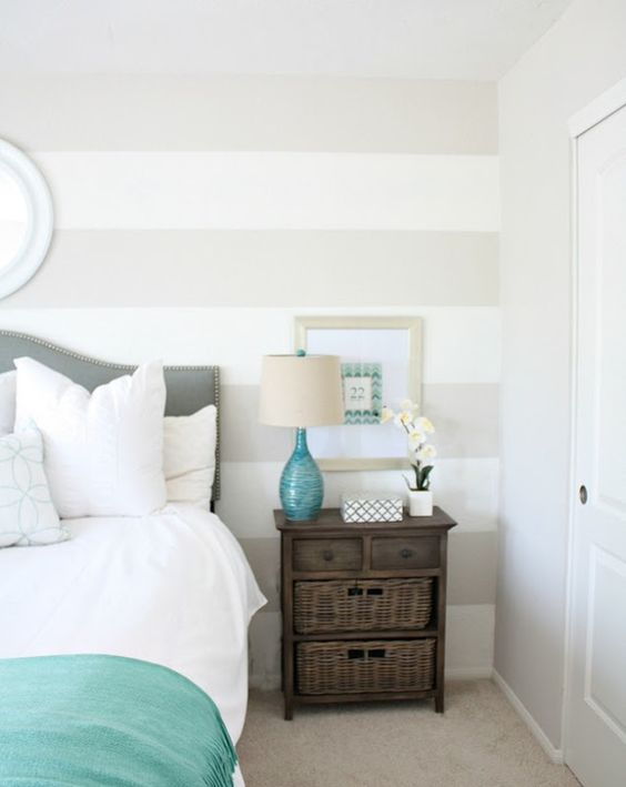 Bedroom Vignette With Soft Taupe Striped Feature Wall And