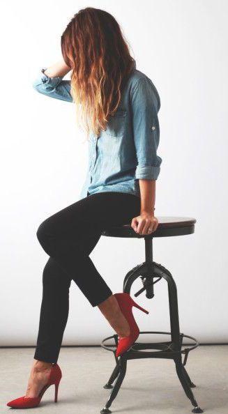 #fall #fashion / denim shirt + red pumps