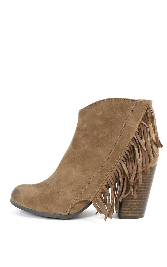 No elaborate dance moves necessary - just don these fringed booties to embellish every step you take! Constructed of vegan faux-suede with a distressed toe and quarter, this stacked-heel ankle boot gives your look movement, even when you stand still. Available in store and online.