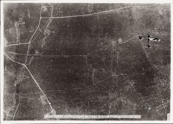 A Breguet 14, a bi-plane bomber and reconnaissance aircraft, is photographed over enemy territory in Kortekeer in 1918. (All photos: Courtesy Yale University Press/ Mercatorfonds)