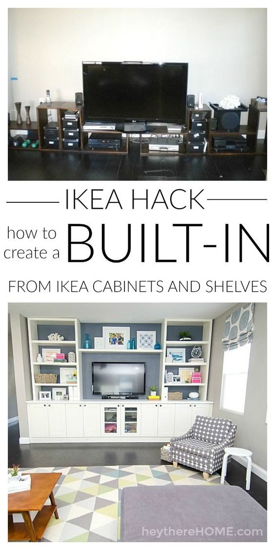 Mind blowing IKEA hack! You can save so much money if you know how to create your own built in using IKEA cabinets and shelves to create your own entertainment center in your family room.: