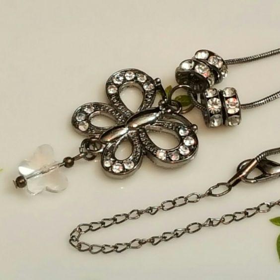 NEW! Gunmetal Black Rhinestone  Butterfly Necklace