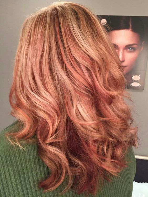 Strawberry blonde, Rose gold color and Burgundy on Pinterest