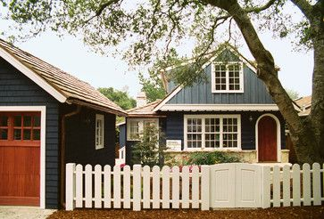 House Exterior Brown Roof Blue White Trim Cute Fence