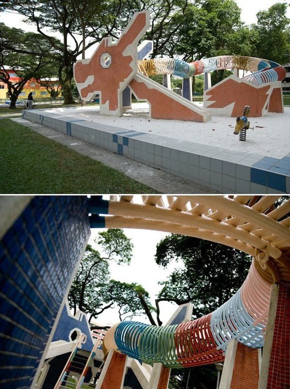 Toa Payoh Lorong 6 playground, Singapore. Designed in 1979 by Khor Ean Ghee.